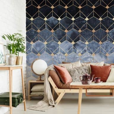 Photo Wallpaper Fredriksson - Hexagons - Blue & Gold