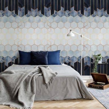 Photo Wallpaper Fredriksson - Blue & White Hexagons