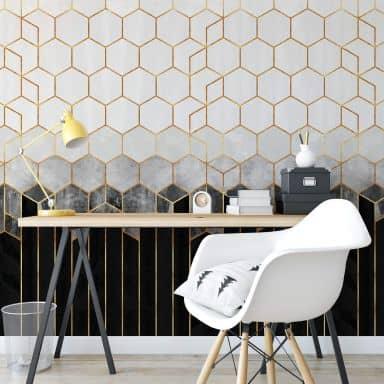 Fotobehang Fredriksson - Black & Grey Hexagons
