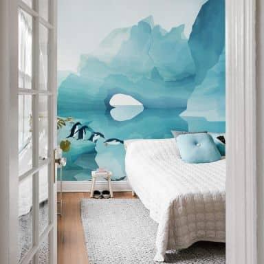 Photo Wallpaper Goed Blauw - Penguins