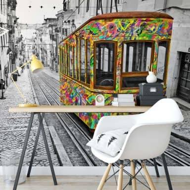 Fotobehang Ben Heine – Tram in Lissabon