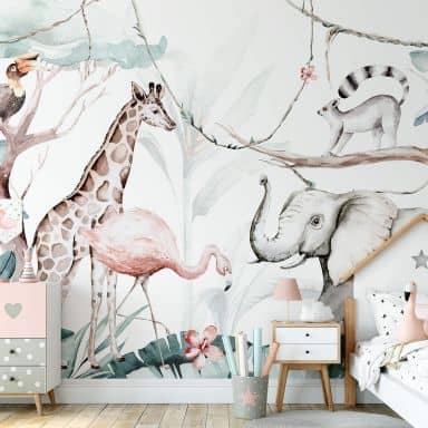 Papier peint photo Kvilis - Amis des animaux dans la jungle