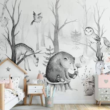 Photo Wallpaper Kvilis - Forest Friends - black and white