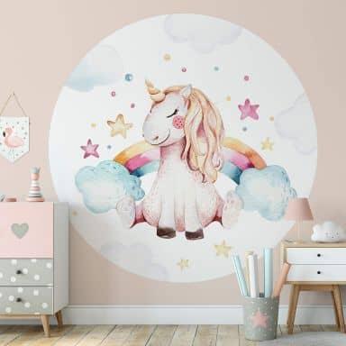 Papier peint photo Kvilis - Rêves de licornes - Rond