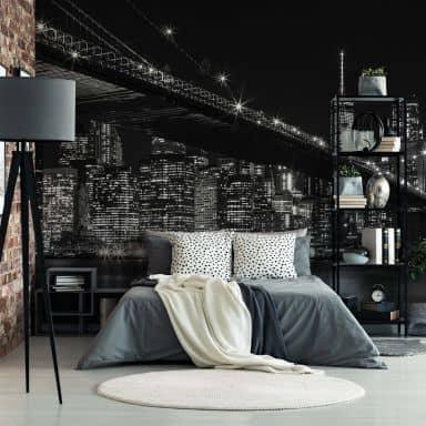 Fototapete New York bei Nacht - 432x260 cm