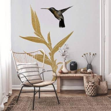 Fotobehang Orara Studio - Hummingbird & Plant