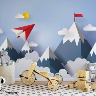 Fotomurale – Areoplanino di carta in montagna