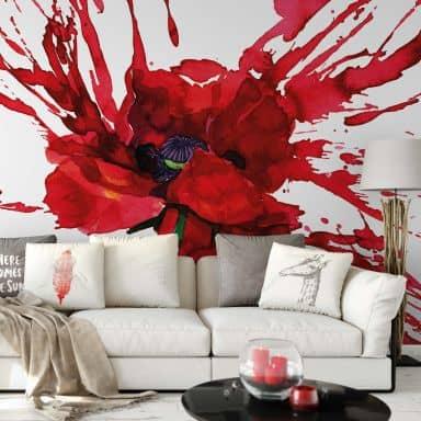 Papier peint photo - Rouge Coquelicot