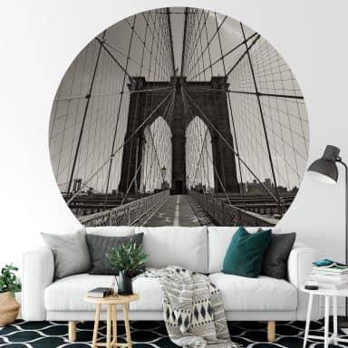 Fototapete Brooklyn Bridge Perspektive - Rund