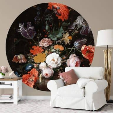 Fototapete Mignon - Stillleben mit Blumen und einer Uhr - Rund