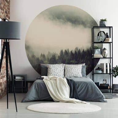 Papier peint photo Forêt dans la brume 02 - Rond
