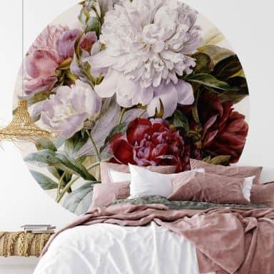 Fototapete Redouté - Strauß von roten, lila und weißen Pfingstrosen - Rund