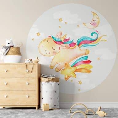 Papier peint photo Licorne qui brille - Rond