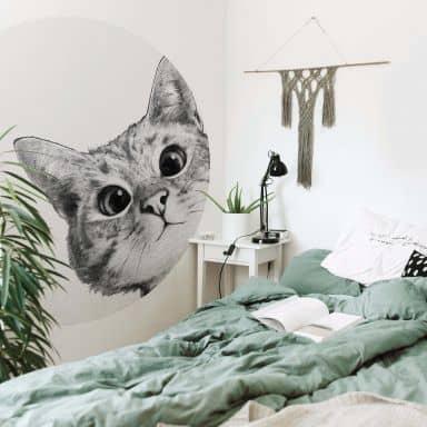 Fototapete Graves - Sneaky Cat - Rund