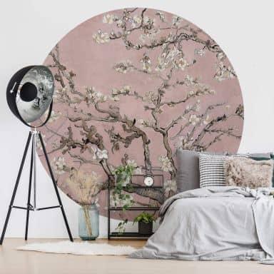 Papier peint photo van Gogh - Amandier en fleurs - Rose - Rond