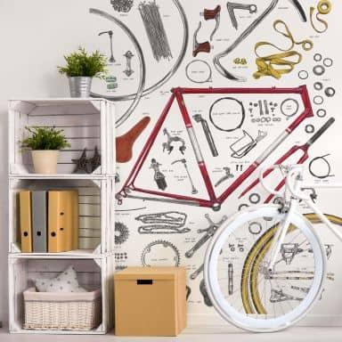 Fototapete Sparshott - Aufbau eines Fahrrads
