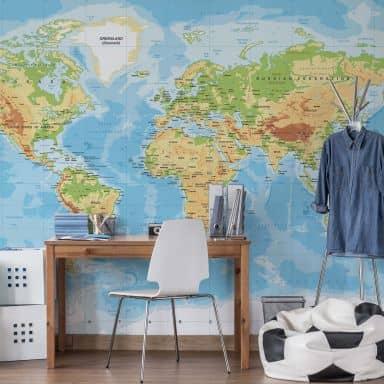 Fototapete Topografische Weltkarte