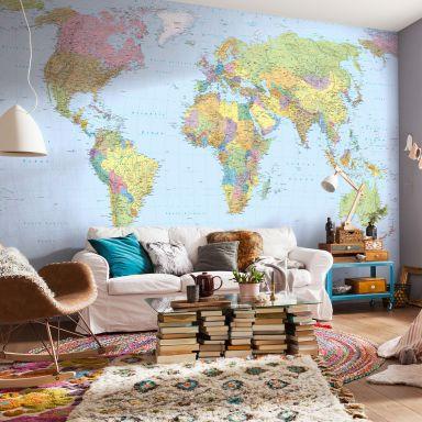 Photo Wallpaper Fleece World Map