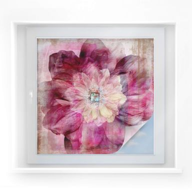 Window foil Pink Peony – square