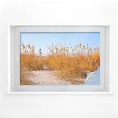 Sichtschutzfolie Leuchtturm im Strandfeld