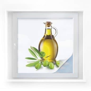 Window foil Olives & Bottle