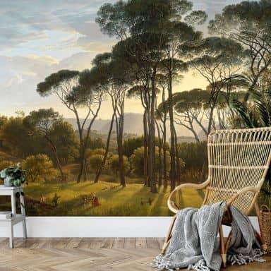 Papier peint photo Voogd - Paysage italien avec pins parasols