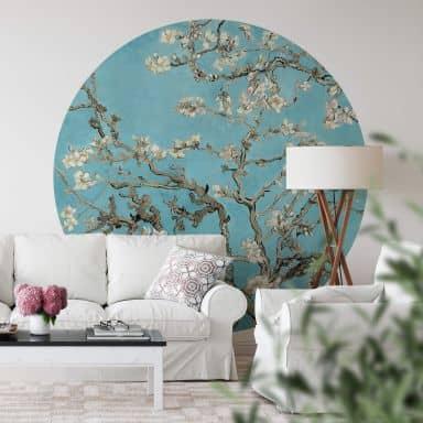 Papier peint photo van Gogh - Amandier en fleurs - Bleu - Rond
