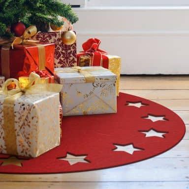 Tappeto in feltro natalizio - Ghirlanda di stelle
