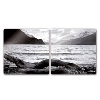 Glasbild Log and Lake (2-teilig)