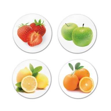 Glasbild Obst Set (4-teilig) - rund