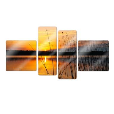 Sunset by the lake (4 parts) Glass art