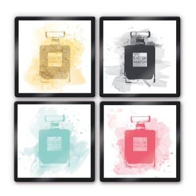 Glasbild Eau de Parfum Aquarell Bunt (4-teilig)