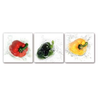 Glasbild Splashing Paprika (3-teilig)
