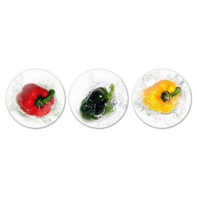 Glasbild Splashing Paprika (3-teilig) - rund
