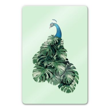 Glasbild Loose - Monstera Bird