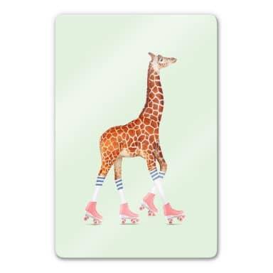 Glasbild Loose – Rollerskating Giraffe