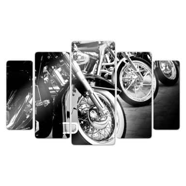 Glasbild Motorcycle Wheels (5-teilig)
