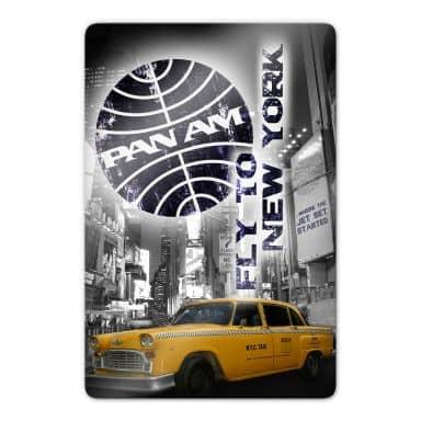 Glasbild  Pan Am - New York Yellow Taxi Cab -