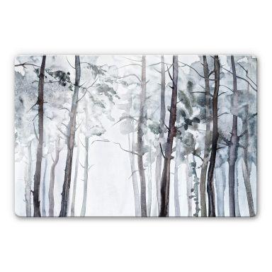 Glasbild Aquarell Wald