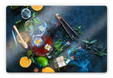 Glasbild Belenko - Chamomile and Tea