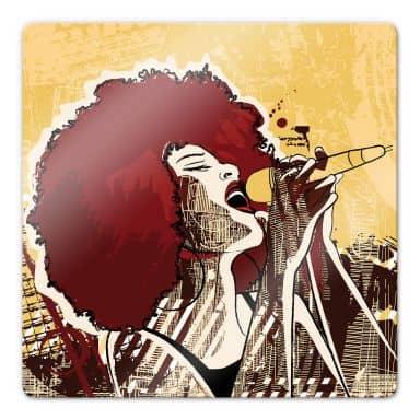 Glasbild Black Singer