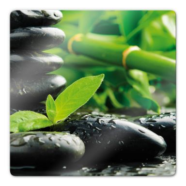 Glasbild Black Zen Stones