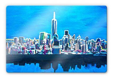 Glasbild Bleichner - New York City im Neonschimmer