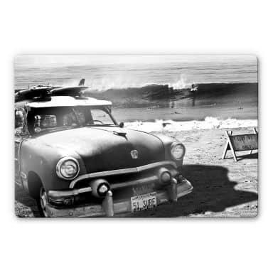 Glasbild Butterworth - Surfing on Hawaii