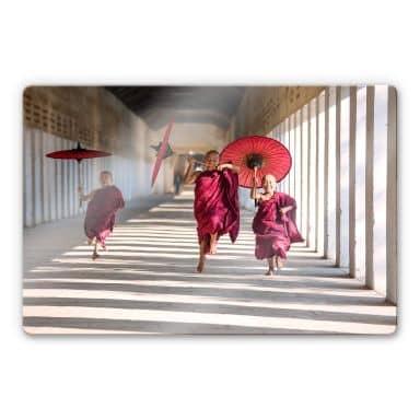 Glasbild Colombo - Drei junge Mönche