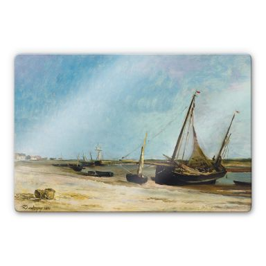 Glasbild Daubigny - Boote am Strand von Ètaples
