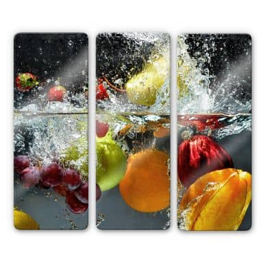 Glass Print Fresh Fruits (3-parts)