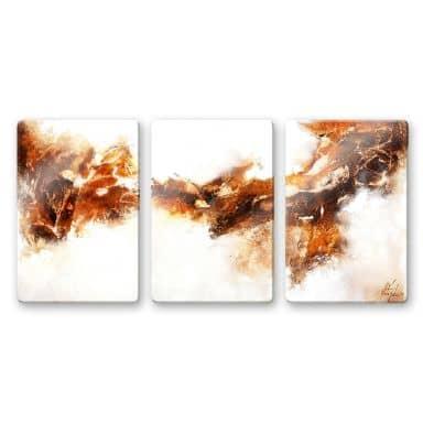 Glasschilderijen Fedrau - Vloeiend Goud 02 (3-delig)