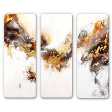Glasschilderijen Fedrau - Vloeiend Goud 03 (3-delig)