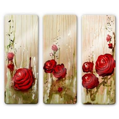 Glasbild Fedrau - Roses (3-teilig)